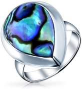 Bling Jewelry .925 Sterling Silver Abalone Shell Teardrop Shaped Ring