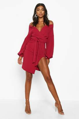 boohoo Tall Off The Shoulder Thigh Split Dress