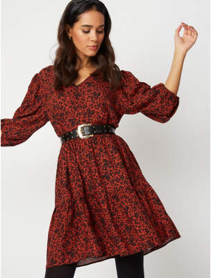 George Red Floral Print Dress