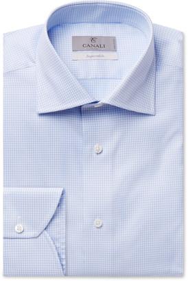 Canali Light-Blue Houndstooth Cotton Shirt