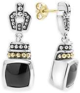Lagos 18K Gold and Sterling Silver Caviar Color Onyx Drop Earrings