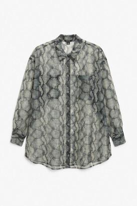 Monki Oversized sheer shirt