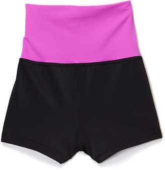 Niva Miche Clothes Niva-Miche Clothes Girls' Active Shorts Neon - Neon Purple & Black High-Waisted Shorts - Toddler & Girls