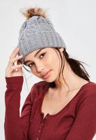 Missguided Grey Cable Knit Pom Pom Beanie