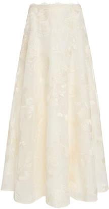 Marchesa Embroidered Organza Tea Length Skirt