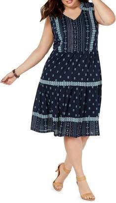 Style&Co. Style & Co. Plus Printed Mini Drop-Waist Dress
