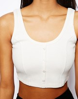 Asos '90s Crop Top with Buttons in Rib