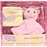 Pem America Baby Girl Plush 4-Piece Baby Items Set - Pink
