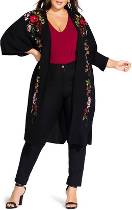 City Chic Winter Zen Floral Embroidery Open Long Jacket
