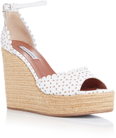 Tabitha Simmons White Perforated Leather Harp Wedges