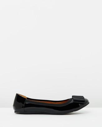 Walnut Melbourne Sandra Bow Leather Ballet Flats
