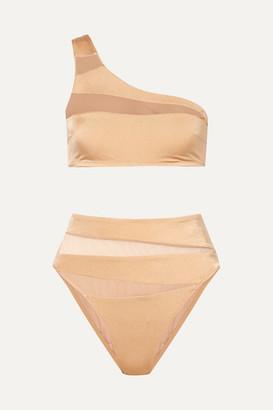 Emma Pake Oriana + Gabriella Mesh-trimmed Bikini - Gold