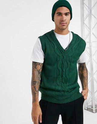 Another Influence cable pull-over knitted vest in bottle green