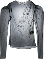 Saint Laurent sheer puff sleeve top - women - Silk - 36