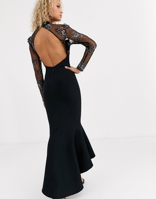 Forever U embroidered fishtail maxi dress with mesh top in black