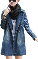 Tanming Women's Lapel Double Breasted Long Denim Jean Jacket Trench Coat