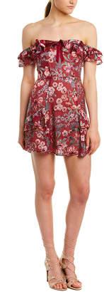 For Love & Lemons Flora Silk-Blend Mini Dress