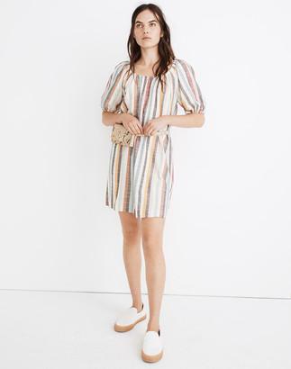 Madewell Petite Puff-Sleeve Trapeze Mini Dress in Rainbow Stripe
