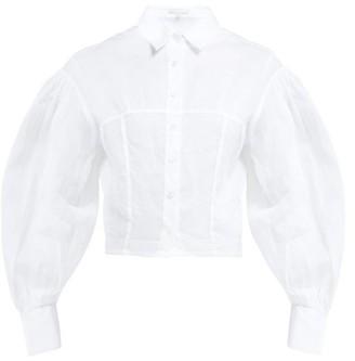White Story - Belinda Organza Open-cuffed Shirt - White
