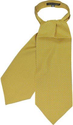 Forzieri Yellow Paisley Printed Twill Silk Ascot Tie