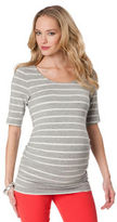 A Pea in the Pod Elbow Sleeve Scoop Neck Side Ruched Maternity T Shirt