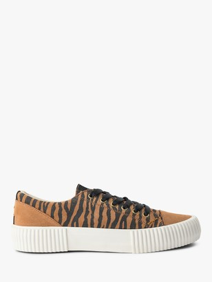 Shoe The Bear Andrea Zebra Print Lace Up Trainers, Brown