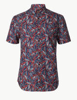 M&S CollectionMarks and Spencer Pure Cotton Leaf Print Shirt