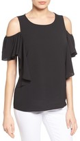 Bobeau Women's Cold Shoulder Ruffle Sleeve Top
