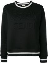 Fendi embossed logo sweatshirt - women - Silk/Cotton/Polyamide - 42