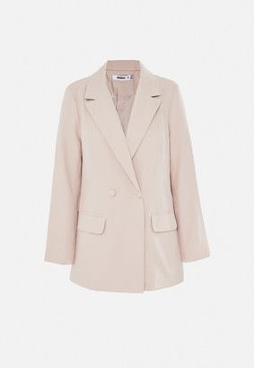 Missguided Cream Oversized Longline Blazer