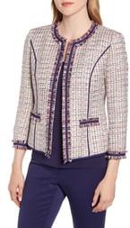 Anne Klein Twill Fringe Jacket