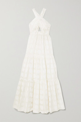 Ulla Johnson Fontaine Cutout Fil Coupe Cotton And Silk-blend Halterneck Maxi Dress - White