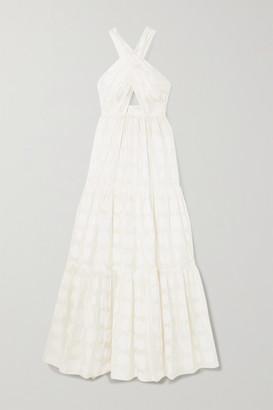 Ulla Johnson Fontaine Cutout Fil Coupe Cotton And Silk-blend Halterneck Maxi Dress - White