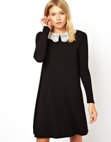 Asos Swing Dress With Crochet Collar And Long Sleeves