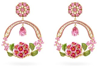 Dolce & Gabbana Floral Bloom Crystal And Enamel Drop Clip Earrings - Womens - Pink