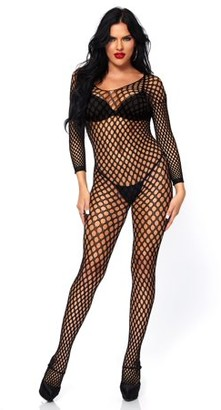 Leg Avenue Women's Sexy Crotchless Ring Net Long Sleeved Bodystocking