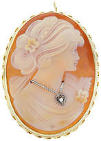 One Kings Lane Vintage Diamond & Coral Cameo Brooch Pendant