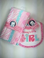 Gerber Baby Girl Gift Bundle - 2 Items 4-pack pink/blue Flannel Burp Cloths & 3-pack pink/blue Bibs