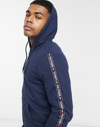 Tommy Hilfiger authentic full zip lounge hoodie with side logo taping in navy