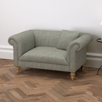 The White Company Earlsfield Tweed Love Seat, Tweed Mid Grey, One Size