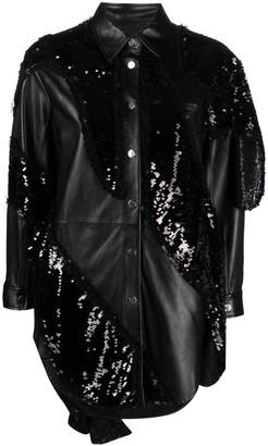 Pinko Sequin-Embellished Leather Shirt