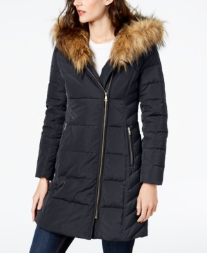 Cole Haan Faux-Fur-Trim Hooded Asymmetrical Down Puffer Coat