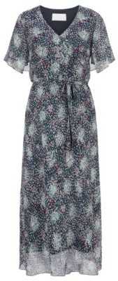 HUGO BOSS Kimono Sleeve Midi Dress In Printed Silk Chiffon - Patterned
