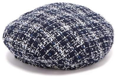 Maison Michel Flore Cotton Blend Tweed Beret - Womens - Navy