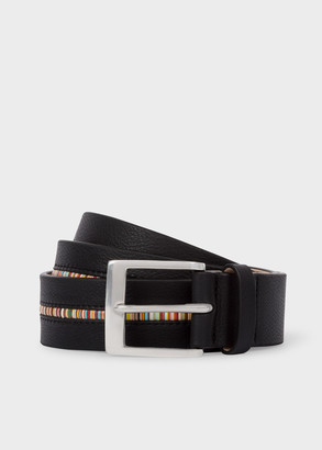 Paul Smith Men's Black Leather Belt With 'Signature Stripe' Insert