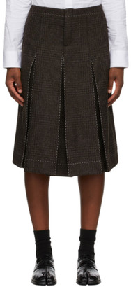 Maison Margiela Brown Wool Check Contrast Stitch Skort