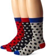 Ben Sherman Men's 3 Pack Frederick Crew Socks, Blue/Red, One Size