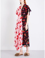 Simone Rocha Floral-embroidered patchwork tulle dress