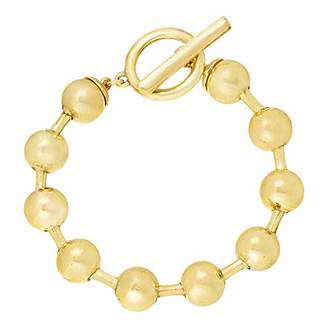 Steve Madden Women's Polished Geometric Bead Toggle Lock Gold-Tone Bracelet