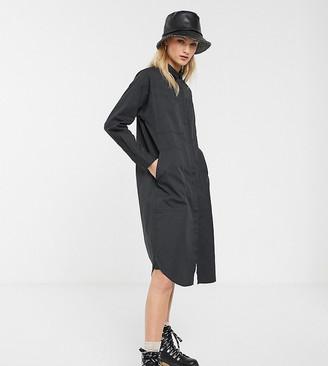 Monki oversized shirt dress with utility pockets in grey